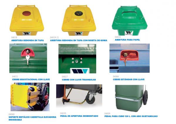 Cerraduras para cubos y contenedores de basura y residuos
