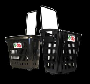 Disponibilidad de cestas de compra recicicladas con ruedas 34 L