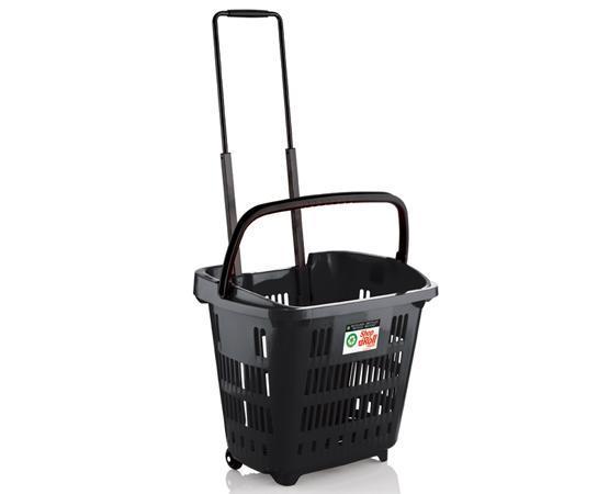 Cestas de supermercado con ruedas, recicladas y ecológicas.