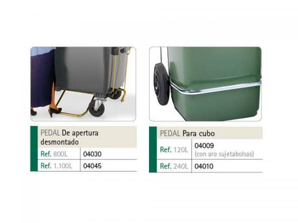 Contenedores de basura de 800 y 1100 L con pedal metálico