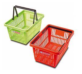 Cestas de compra 20 L - Cesta de supermercado de mano, con asas, de 20 L