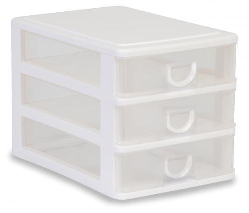 Cajoneras A5 3 cajones bajos - Cajonera de plástico con tres cajones de tamaño DIN A5