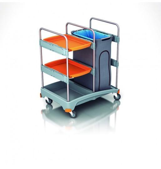 Carro limpieza con bandejas - Carro de limpieza con contenedor plástico y bandejas de servicio, con ruedas.