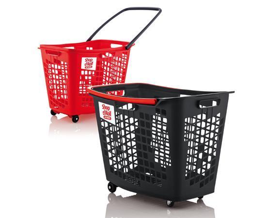 Cesta con ruedas supermercado 55 L - Cesta con ruedas 55 L para tiendas y supermercados