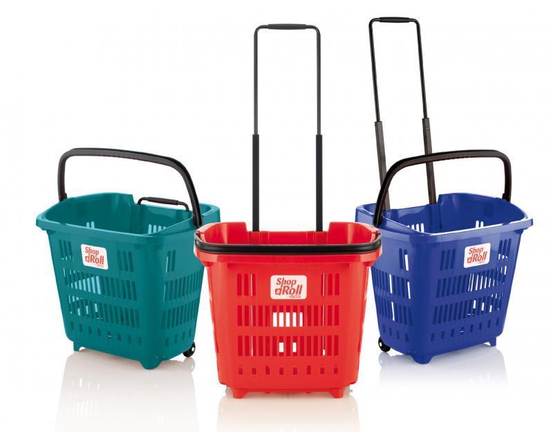 Cesta de supermercado con ruedas 34 L - Cestas de supermercado con ruedas de 34 L de capacidad.