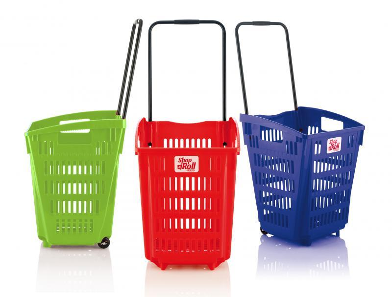 Cestas de supermercado con ruedas 52 L - Cestas de supermercado con ruedas 52 L de capacidad.