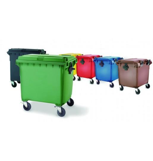 Contenedores de basura 1100 L - Contenedores de basura de 1100 L con ruedas y tapa plana.