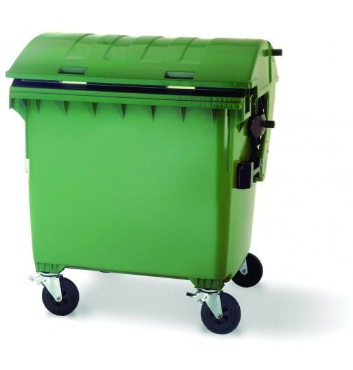 Contenedor residuos 1100 L tapa curva - Contenedores de basura 1100 L tapa curva basculante.