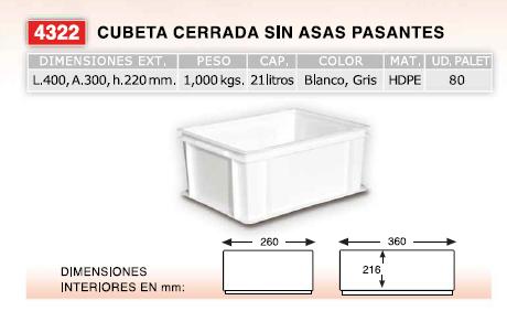 Cubeta 400x300x220 - Cajón de plástico apto para uso alimentario, de 400x300xalto220