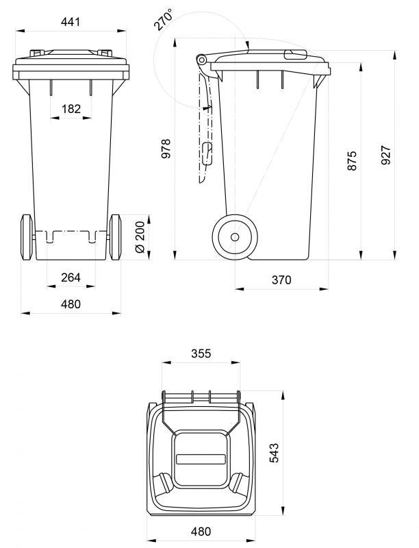 Contenedores de basura 120 L - Contenedores de basura con ruedas de 120 L de capacidad